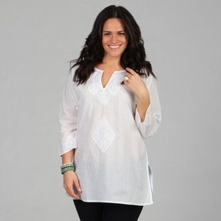 KC Signatures Women's White Hand-embroidered 3/4 Sleeve Tunic