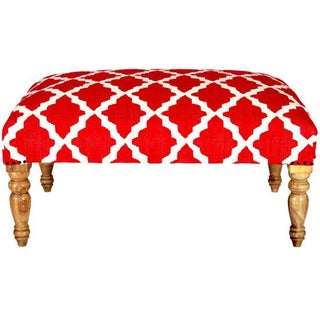nuLOOM Hand Upholstered Moroccan Trellis Red Wood Bench