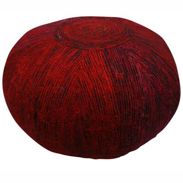 nuLOOM Ethnic Chic Red Sari Silk Pouf