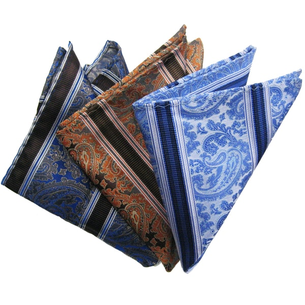 Dmitry Men's Silk Blue/Brown/Light Blue Pocket Squares (Pack of Three)