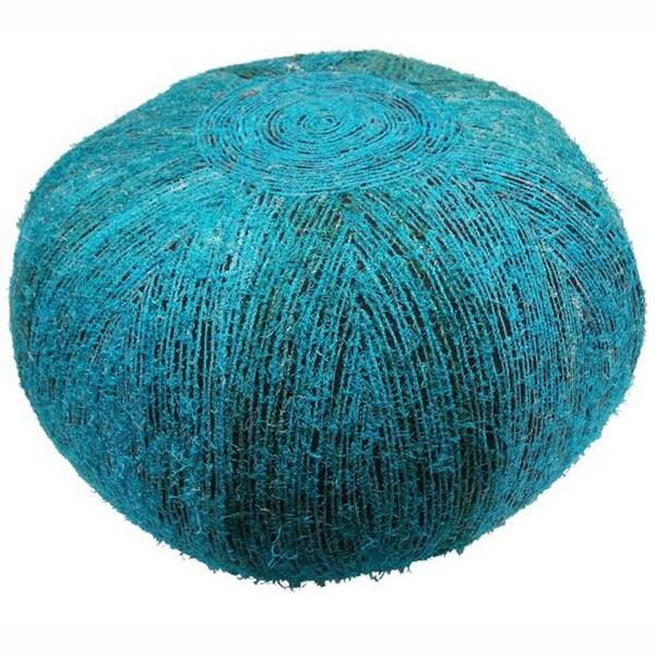 nuLOOM Ethnic Chic Turquoise Sari Silk Pouf