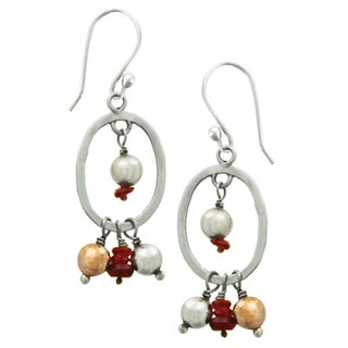 Sterling Silver Pearl Ornament Earrings (Nepal)