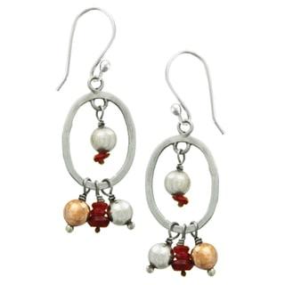 Sterling Silver Pearl Ornament Earrings (Nepal)