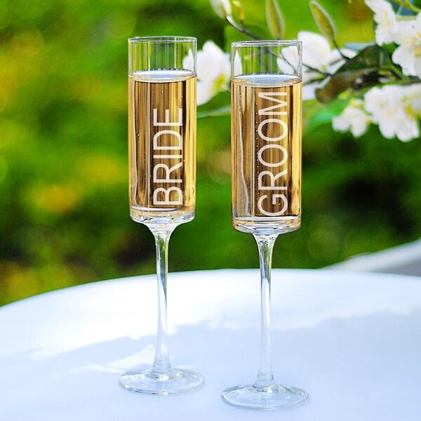 Bride & Groom Contemporary Champagne Flutes