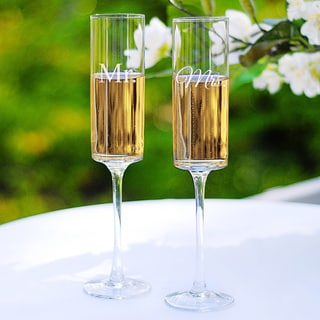 Mr. & Mrs. Contemporary Champagne Flutes