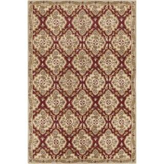Allie Handmade Oriental Burgundy Wool Rug (5' x 7'6)