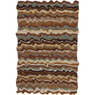 Hand-tufted Fayston Brown Novelty Wool Rug (8' x 11')