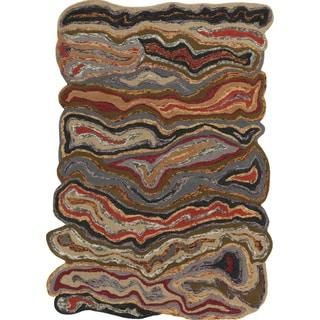 Hand-tufted Halifax Orange Novelty Wool Rug (8' x 11')