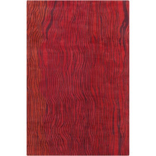 Allie Handmade Abstract Red Wool Rug (5' x 7'6)