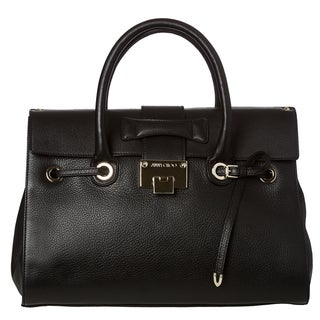 Jimmy Choo 'Rosalie' Black Grainy Leather Satchel Handbag