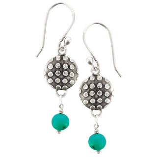 Sterling Silver Azure Turquoise Disk Earrings (Nepal)