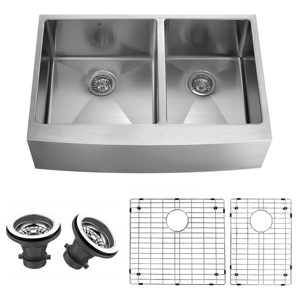 Sink Grids For Stainless Steel Sinks : VIGO 36-inch Farmhouse Stainless Steel Kitchen Sink, Two Grids and Two ...