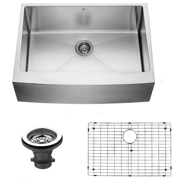 VIGO 30-inch Farmhouse Stainless Steel Kitchen Sink, Grid and Strainer ...