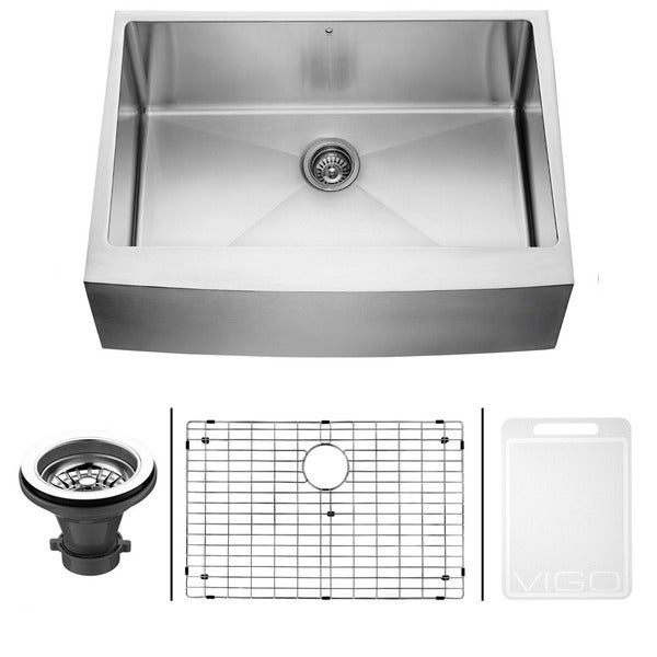 VIGO 30-inch Farmhouse Stainless Steel Kitchen Sink, Grid and Strainer