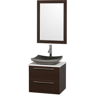 Amare Espresso White Man Made Top/ Black Granite Sink 24-inch Single Bathroom Vanity Set