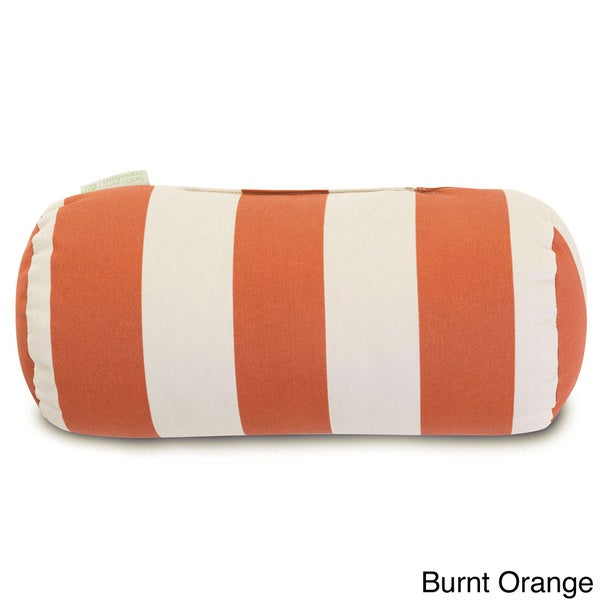Indoor/Outdoor Majestic Home Goods Vertical Stripe Round Bolster Pillow