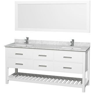Wyndham Collection 'Natalie' White 72-inch Double Bathroom Vanity Set