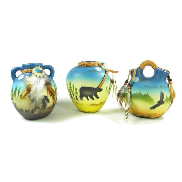 Three-Piece Miniature Southwestern Vases Set