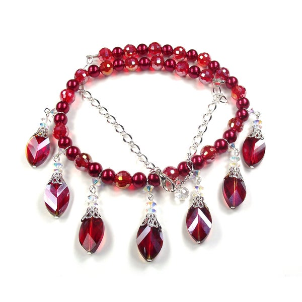 Silverplated Siam Red Crystal Wedding Jewelry Set