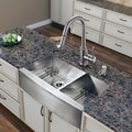 VIGO All in One 36-inch Farmhouse Stainless Steel Double Bowl Kitchen Sink and Faucet Set