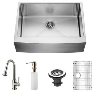 VIGO All in One 30-inch Farmhouse Stainless Steel Kitchen Sink/ Faucet Set