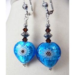 'Enya' Milleflori Heart Dangle Earrings