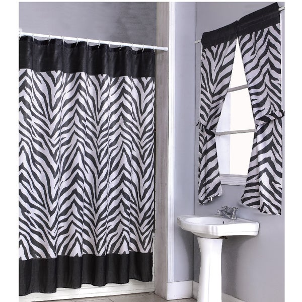 Zebra Print Shower Curtain 14-piece Set and 4-piece Window Set