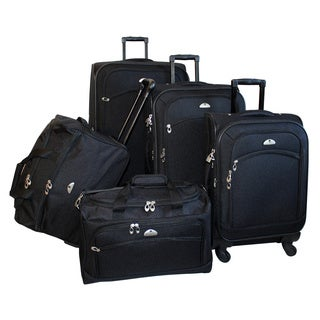 American Flyer South West Expandable 5-piece Black Spinner Luggage Set