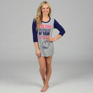 Playboy Women's Grey 'Playmate of Your Dreams' Quarter Sleeve Dorm Shirt