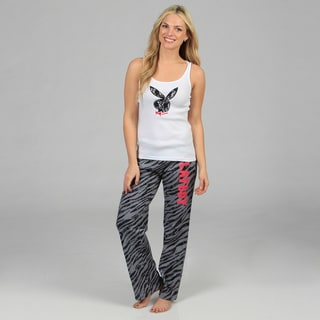 Playboy Women's Lace and Zebra Printed Loungewear Set