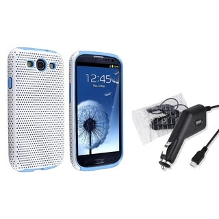 BasAcc Blue/ White Hybrid Case/ Charger for Samsung Galaxy S III/ S3