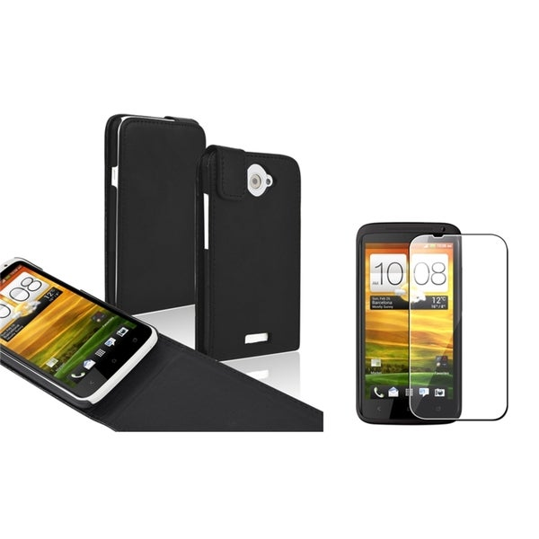 BasAcc Black Leather Flip Case/ LCD Protector for HTC One X