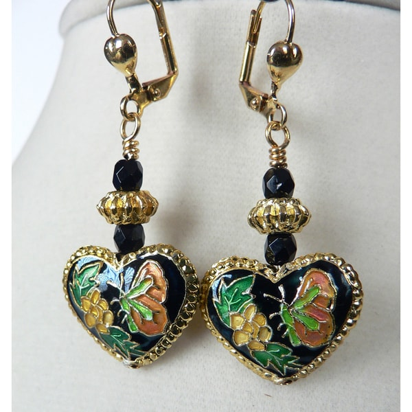 'Willow' Cloisonne Heart Dangle Earrings 10566677
