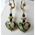 'Willow' Cloisonne Heart Dangle Earrings