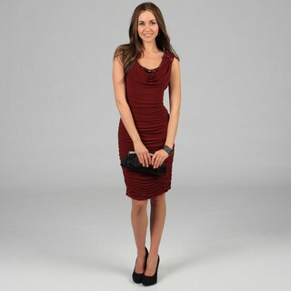 KM Karen Miller Women's Red Allover Ruched Bodycon Dress