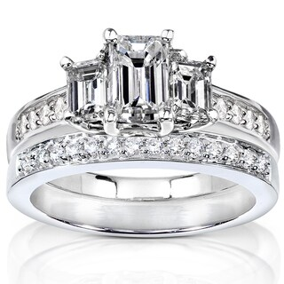 Annello  14k Gold 1 1/2ct TDW Emerald Cut Diamond Bridal Set (H-I, SI1-SI2)