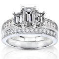 14k Gold 1 1/2ct TDW Diamond 3-stone Bridal Ring Set (H-I, SI1-SI2)
