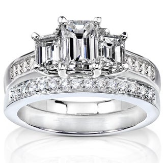 Annello 14k Gold 1 7/8ct TDW Emerald Cut Diamond Bridal Set (H-I, SI1-SI2)