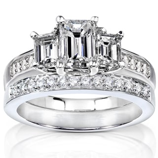 Annello 14k Gold 1 7/8ct TDW Emerald Cut Diamond Bridal Set (H-I, SI1-SI2) with Bonus Item