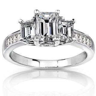 Annello 14k Gold 1 3/4 ct TDW Emerald-cut Diamond Three-Stone Engagement Ring (H-I, SI1-SI2)
