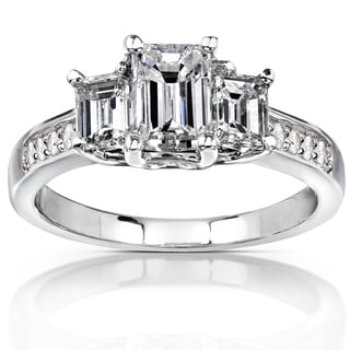 Annello 14k Gold 1.75ct TDW Emerald Cut Diamond Engagement Ring (H-I, SI1-SI2)