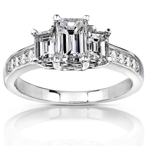 Annello 14k Gold 1 1/3 ct TDW Emerald-cut Diamond Three-Stone Engagement Ring (H-I, SI1-SI2)