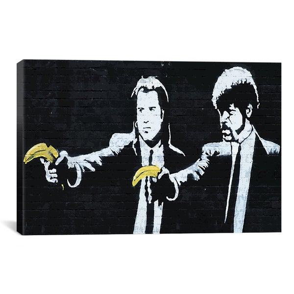 Banksy 'Pulp Fiction Bananas' Canvas Print Wall Art