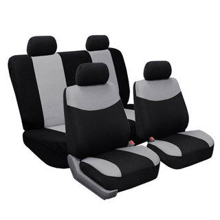 Full Set Grey Fabric Seat Covers Non-Split Solid Bench for Sedans, SUV