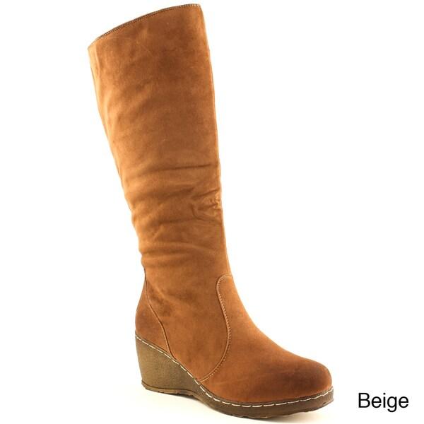 DPNs Women's Solid Wedge Heel Mid-calf Boots