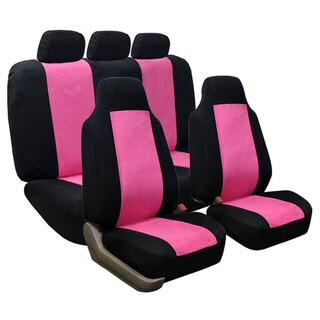 Suede Pink Airbag Compatible Split Rear Car/ SUV Seat Covers