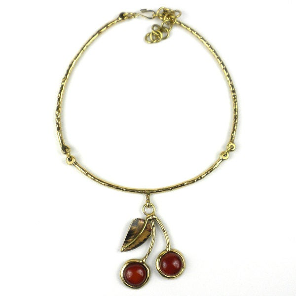 Handcrafted Carnelian Brass Cherry Necklace (South Africa)