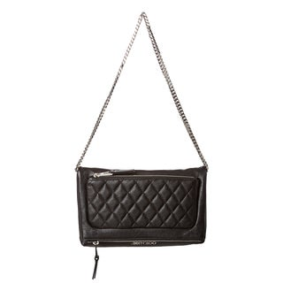 Jimmy Choo 'Bex Biker' Black Leather Chain Strap Crossbody Bag