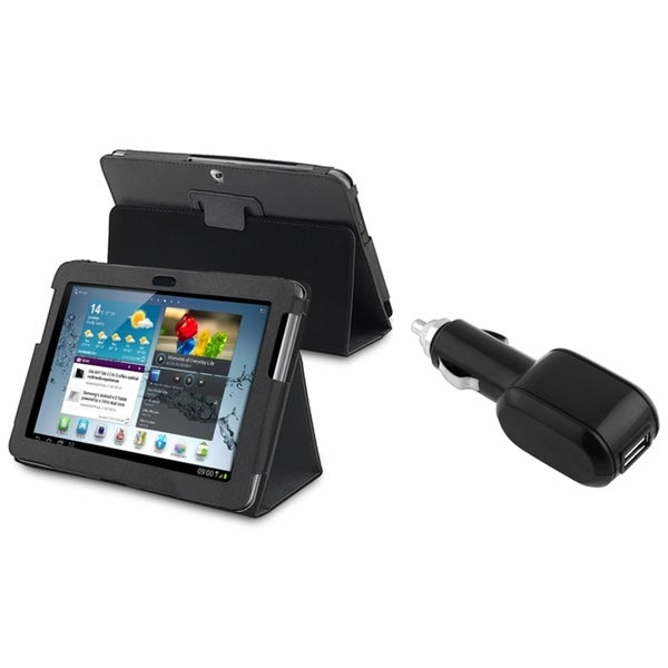 INSTEN Tablet Tablet Case Cover/ Car Charger for Samsung Galaxy Tab 2/ P5100/ P5110/ 10.1