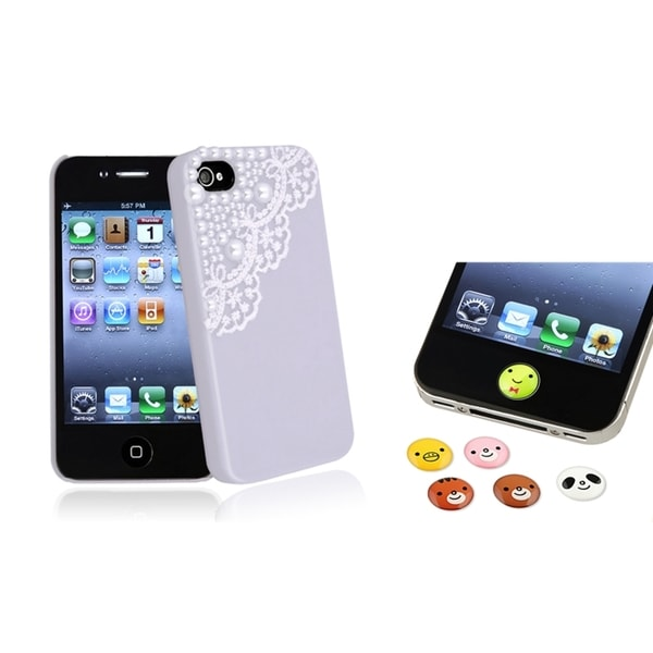 BasAcc Lace Pearl Case/ HOME Button Sticker for Apple iPhone 4/ 4S